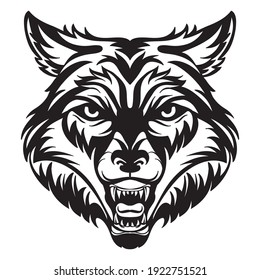 Mascot. Vector head of wolf. Black illustration of danger wild beast isolated on white background. For decoration, print, design, logo, sport clubs, tattoo, t-shirt design, stickers.