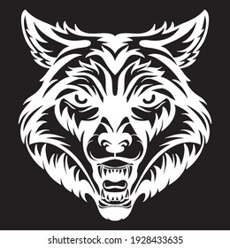 Mascot. Vector head of wolf. White illustration of danger wild beast isolated on black background. For decoration, print, design, logo, sport clubs, tattoo, t-shirt design, stickers.