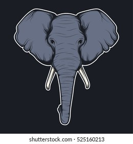 Mascot vector illustration adult elephant head