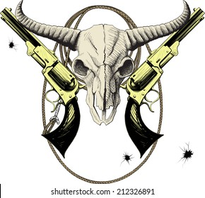 Mascot of the Wild West with bison skull with revolvers and lasso