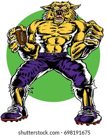 Mascot Wildcat flexing muscles, holding football in ragged football uniform, reminiscent of traditional school mascots but with a new look and attitude. Suitable for all sports.
