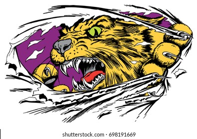 Mascot Wildcat, ripping through cloth, reminiscent of traditional school mascots but with a new look and attitude. Suitable for all sports.