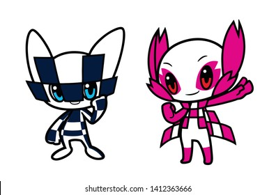 Mascots Tokyo Olympics Funny cartoon vector template on white background