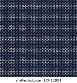 Masculine Bleach Dot Stripe Knitted Marl Variegated Background. Winter Nordic Seamless Pattern. Indigo Blue Faded Jean Texture. For Tie Dye Effect Textile, Melange All Over Print. Vector Eps 10
