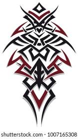 Masculine jagged Tribal Tattoo Ornament. Red and black.
