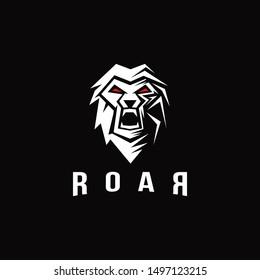 Masculine lion screaming logo, roar logo