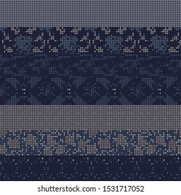 Masculine Stripe Knitted Marl Variegated Background. Winter Nordic Style Seamless Pattern. Indigo Blue Heather Blended Texture.  For Tie Dye Effect Textile, Melange All Over Print. Vector Eps 10