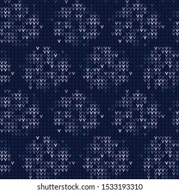 Masculine Stripe Knitted Marl Variegated Background. Winter Nordic Style Seamless Pattern. Indigo Blue Chevron Blended Texture. For Tie Dye Effect Textile, Melange All Over Print. Vector Eps 10
