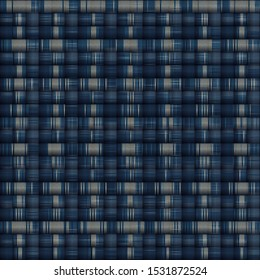 Masculine Woven Stripe Marl Variegated Background. Winter Nordic Style Seamless Pattern. Indigo Blue Heather Blended Texture. For Tie Dye Effect Textile, Melange All Over Print. Vector Eps 10