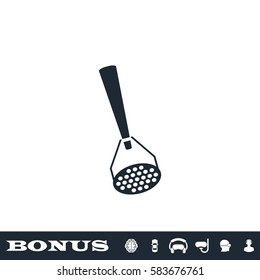 Masher icon flat. Black pictogram on white background. Vector illustration symbol and bonus button