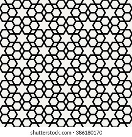 Mashrabiya islamic pattern, monochrome arabic background with hexagons