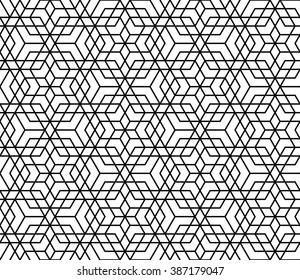 Mashrabiya islamic pattern, monochrome arabic background with overlapping hexagons
