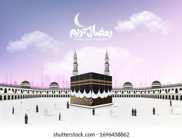 Masjid Al Haram design with Kaaba Vector and  domes on the roof top of the Grand Mosque of Mecca in Saudi Arabia With the pilgrims people - Arabic mean Ramadan kareem