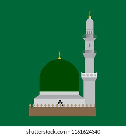 Masjid E Nabvi  Saudi Arabia  eid milad un nabi  eid mubark  gumbad e khizra Madian Pak  Madina sharef  Mosque green color on gradient background Vector Design