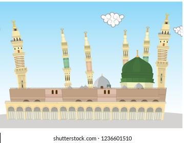 Masjid E Nabvi - Saudi Arabia - islamic cartoon Mosque Vector Design