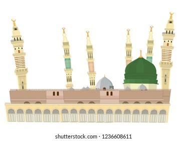 Masjid E Nabvi - Saudi Arabia - Mosque Vector Design isolated
