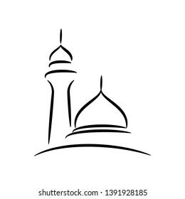 Masjid icon template design, place of worship for muslim people. Mosque vector illustration - Vector