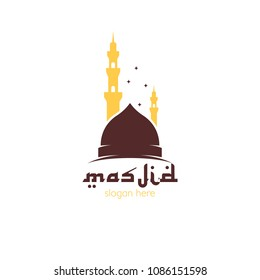 Masjid logo icon template design, place of worship for muslim people. Mosque place for praying islam pilgrims vector illustration