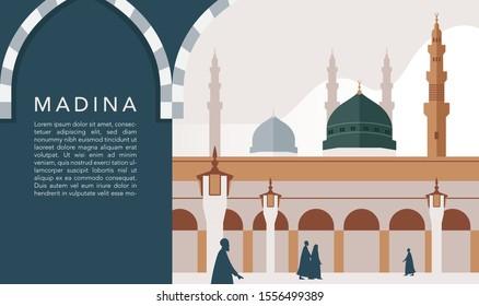 masjid nabawi vector images stock photos vectors shutterstock https www shutterstock com image vector masjid nabawi madina saudi arabia important 1556499389