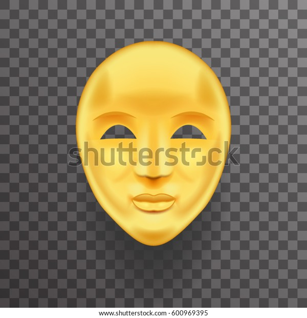 Mask Antique Golden Face Realistic Transparent Icon Template Background Mock Up Design Vector Illustration