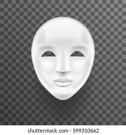 Mask Antique white Face Realistic Transparent Icon Template Background Mock Up Design Vector Illustration