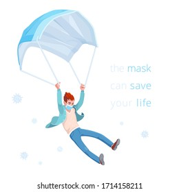 Mask can safe your life. Conceptual vector sticker. Man slowly flies down, using a disposable medical mask like a parachute. Banner about the need to wear a face mask during the coronavirus epidemic.
