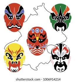 Mask of chinese opera red make-up set