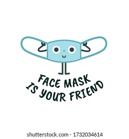 Mask cute character, virus protection sign concept for children, vector illustration set. Media campaign and coronavirus prevention. Face Mask is Your Friend
