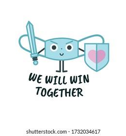 Masquer le caractère mignon, le concept de signe de protection contre les virus pour les enfants, jeu d'illustrations vectorielles. Texte Que Nous Gagnerons Ensemble.