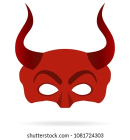 Mask of the devil with horns, red mask of the devil. Flat design, vector illustration, vector.