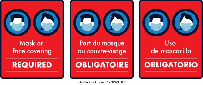mask or face covering required warning sign covid-19 protection male and female icon