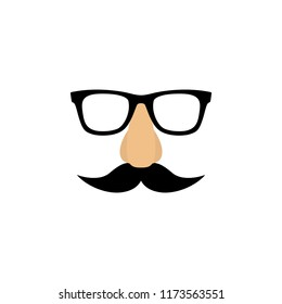 Mask with glasses fake nose and mustache. Vector illustration
