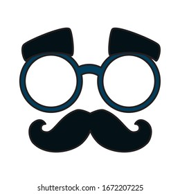mask with glasses and moustache vector illustration design