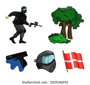 Mask, gun, paint, inventory .Paintball set collection icons in cartoon style vector symbol stock illustration web.