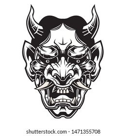 Mask of Hannya. Demon mask. Vector illustration for use as print, poster, sticker, logo, tattoo, emblem and other.