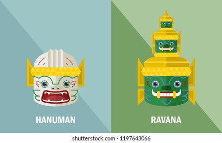 Mask of Hanuman and Ravana from Thai Ramayana - Vector Illustration