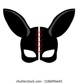 Mask hare on a white background. Bdsm outfit.