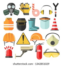 Mask and helmet goggles and respirator protective gear and equipment vector hardhat and construction vest headphones and caution stripe rubber boots and surveillance camera siren and fire extinguisher