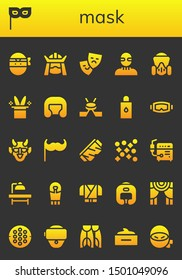 mask icon set. 26 filled mask icons.  Simple modern icons about  - Ninja, Mask, Samurai, Theater, Burglar, Gas Magic hat, Boxing helmet, Hockey, Body oil, Diving Hannya