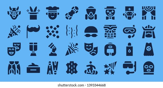 mask icon set. 32 filled mask icons. on blue background style Simple modern icons about  - Hannya, Confetti, Theatre, Flippers, Magic hat, Moustache, Oxygen mask, Hair Joker