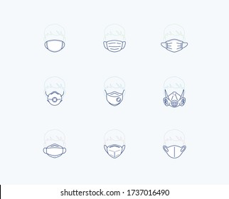 Mask icon set: included line icons as fashion, filter, dust protection mask, medical or surgical, dental mask, cotton mask for virus safety. editable stroke vector illustration