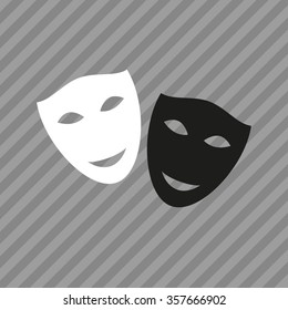 Mask icon. Theater symbol. Black and white theatrical masks. Carnival masks. Vector illustration.