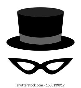 mask icon with tuxedo hat. Vector illustration for web