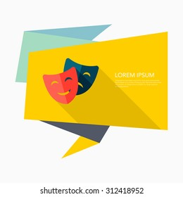 Mask icon, vector illustration. Flat design style with long shadow,eps10