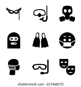 Mask icons set. set of 9 mask filled icons such as thief emot, snorkel, flippers
