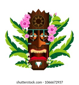 Mask with the image of the sun, stylized Hawaiian wooden sculpture. Decorated with hydrangea flowers and palm leaves. Element for decoration and design of posters, booklets, t-shirts
