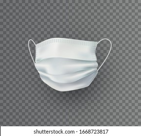 Mask isolated on transparent background. Vector white medical doctor, surgical, safety breathing element mockup. 3d virus, dust or air pollution face mask protection.