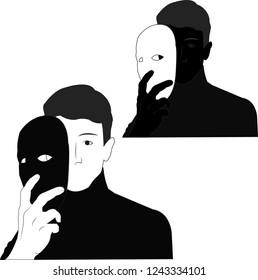 mask man removes mask hypocrisy deceit