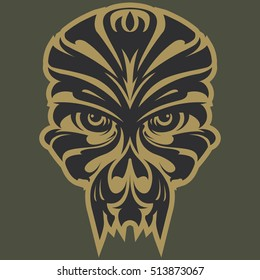 Mask monkey.Face. Ornamental patterned head of the monkey. Zen tangle doodle vector illustration. Can be used as design for tattoo, t-shirt, bag, poster, postcard, book. African mask.