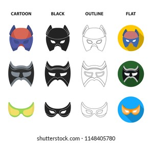 Mask on the head and eyes. Super Hero Mask set collection icons in cartoon,black,outline,flat style vector symbol stock illustration web.